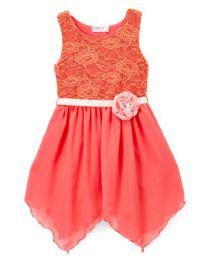 6 Bulk Girls' Coral Chiffon Dress In Size 7-14