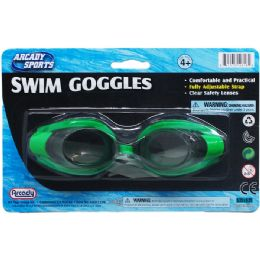 """48 Bulk 6"""" Swimming Goggles On Blister Card, 3 Assorted Colors"""