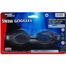 "48 Bulk 6.75"" Swimming Goggles On Blister Card, 2 Assrt Clr"