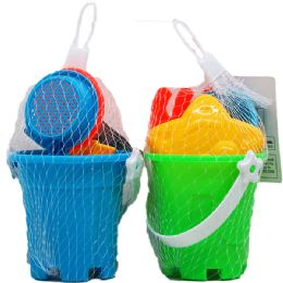 72 Bulk Beach Toy Bucket With Accessories In Pegable Net Bag