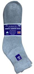 24 Bulk Yacht & Smith Men's King Size Loose Fit Non-Binding Cotton Diabetic Ankle Socks,Gray Size 13-16