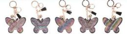 48 Bulk Glitter Bling Butterfly Keychain