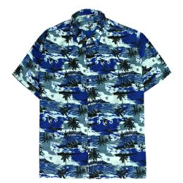 12 Bulk Men's Hawaiian Navy Blue Shirt, S-2xl