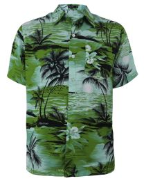 12 Bulk Men's Hawaiian Green Shirt Plus Size, Size 2xL-4xl
