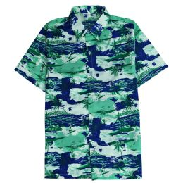 12 Bulk Men's Hawaiian Pistachio Green Shirt Plus Size, Size 2xL-4xl