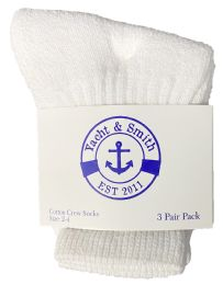 24 Bulk Yacht & Smith Kids Value Pack Of Cotton Terry Crew Socks Size 2-4 White