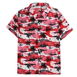 12 Bulk Men's Hawaiian Red Shirt Plus Size, 2xL-4xl