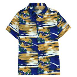 12 Bulk Men's Hawaiian Mustard Shirt Plus Size, 2xL-4xl