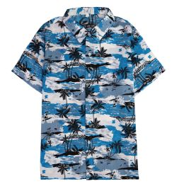12 Bulk Men's Light Blue Motorcycle Print Shirt ,size S-2xl