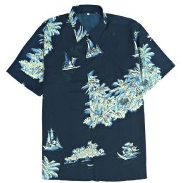 12 Bulk Men's Blue/black Hawaiian Print Shirt ,S-2xl