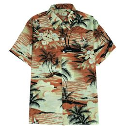 12 Bulk Men's Orange Hawaiian Print Shirt Plus Size ,size 2xL-4xl