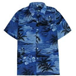 12 Bulk Men's Blue Hawaiian Print Shirt Size S-2xl