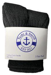 24 Bulk Yacht & Smith Kids Value Pack Of Cotton Crew Socks Size 2-4 Black Bulk Pack