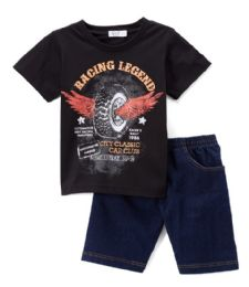 6 Bulk Boys Graphic Tshirt And Denim Short SeT- Size 2 - 4t
