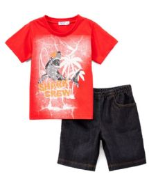 6 Bulk Boys Graphic Tshirt And Denim Short SeT- Size 4/5 - 7/8