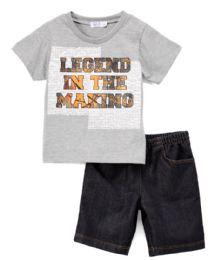 6 Bulk Boys Graphic Tshirt And Denim Short SeT- Size 2 - 4t