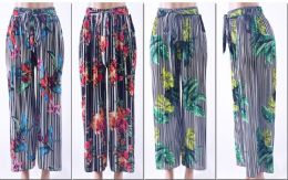 72 Bulk Women's Printed Palazzo Pants W/ Belt