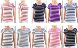 72 Bulk Women's Striped Short Sleeve Top