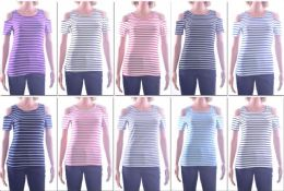72 Bulk Women's Striped Open Shoulder Top