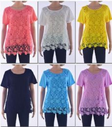 72 Bulk Women's Floral Crochet Top