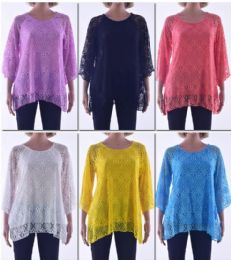 72 Bulk Women's Long Sleeve Crochet Top