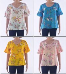 72 Bulk Women's V Neck W/ Flare Shirt Sleeve