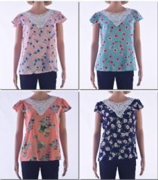 72 Bulk Women's Crochet Floral Short Sleeve