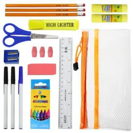 48 Bulk 17 Piece Wholesale Kids School Supplies Kit