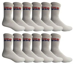 24 Bulk Yacht & Smith Men's USA White Crew Socks Cotton Terry Cushioned , Size 10-13