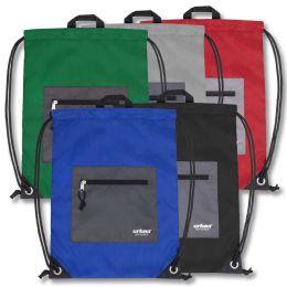 48 Bulk Urban Sport 18 Inch Drawstring Bag - 5 Color
