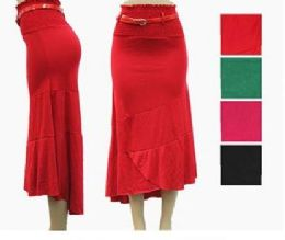 48 Bulk Women's High Low Fitted Skirt With Belt