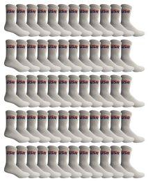 72 Bulk Yacht & Smith Men's Cotton Terry Cushioned Crew Socks White USA, Size 10-13