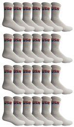 24 Bulk Yacht & Smith Men's Cotton Terry Cushioned Crew Socks White USA, Size 10-13
