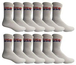 12 Bulk Yacht & Smith Men's Cotton Terry Cushioned Crew Socks White USA, Size 10-13