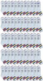 240 Bulk Yacht & Smith Men's King Size Cotton Sport Ankle Socks Size 13-16 With Stripes