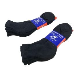 36 Bulk 3 Pair Pack Black Diabetic Quarter Socks