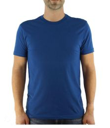 24 Bulk Mens Cotton Crew Neck Short Sleeve T-Shirts Solid Blue, Small