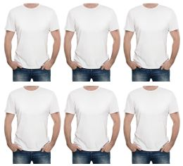 24 Bulk Mens Cotton Short Sleeve T Shirts Solid White Size L