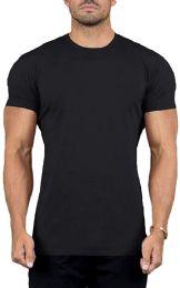 48 Bulk Mens Cotton Crew Neck Short Sleeve T-Shirts Black, XX-Large