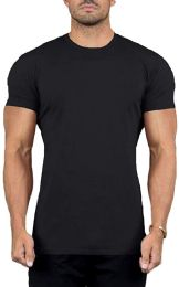 24 Bulk Mens Cotton Crew Neck Short Sleeve T-Shirts Black, XX-Large