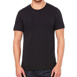 24 Bulk Mens Cotton Crew Neck Short Sleeve T-Shirts Black, Large