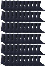 72 Bulk Yacht & Smith Women's Cotton Sports Crew Socks Terry Cushioned, Size 9-11, Navy
