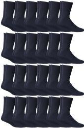 24 Bulk Yacht & Smith Women's Cotton Sports Crew Socks Terry Cushioned, Size 9-11, Navy