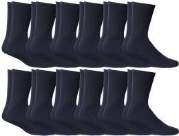 12 Bulk Yacht & Smith Women's Cotton Sports Crew Socks Terry Cushioned, Size 9-11, Navy