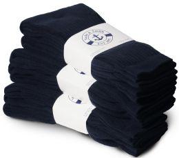 120 Bulk Yacht & Smith Women's Cotton Sports Crew Socks Terry Cushioned, Size 9-11, Navy