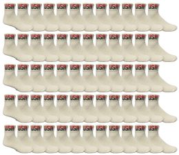 60 Bulk Yacht & Smith Men's King Size Cotton Sport Ankle Socks Size 13-16 Usa White