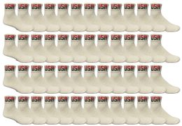 48 Bulk Yacht & Smith Men's King Size Cotton Sport Ankle Socks Size 13-16 Usa White