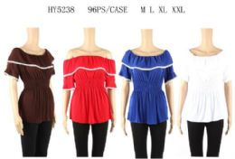 96 Bulk Loose Shoulder Ruffle Tops