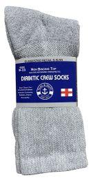 6 Bulk Yacht & Smith Women's Cotton Diabetic NoN-Binding Crew Socks - Size 9-11 Gray