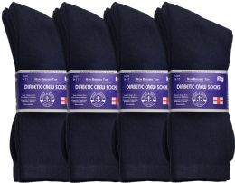 6 Bulk Yacht & Smith Women's Cotton Diabetic NoN-Binding Crew Socks,size 9-11 Navy